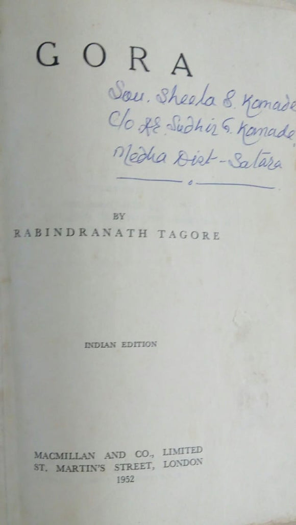 Gora By Rabindrnath Tagore [bounded book]