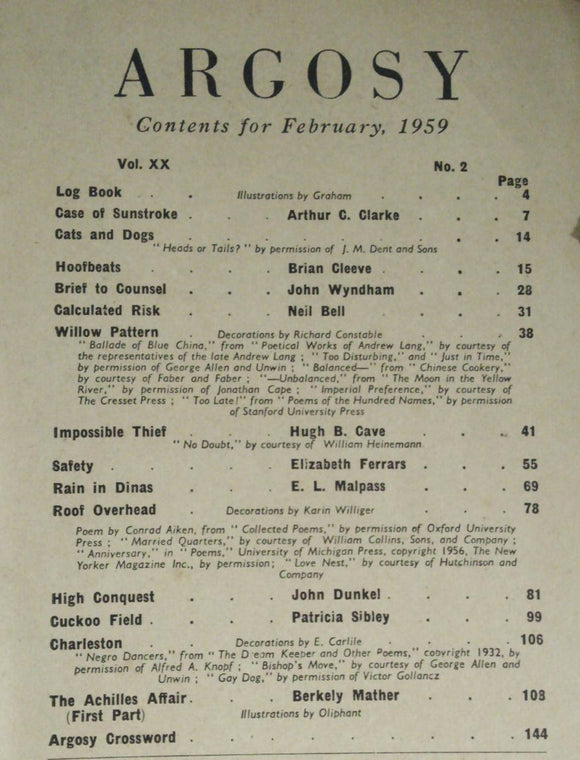 Argosy: Contents For February 1959