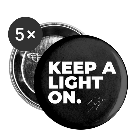 """Keep a light on"" 2 Buttons large 2.2'' (5-pack) - white"