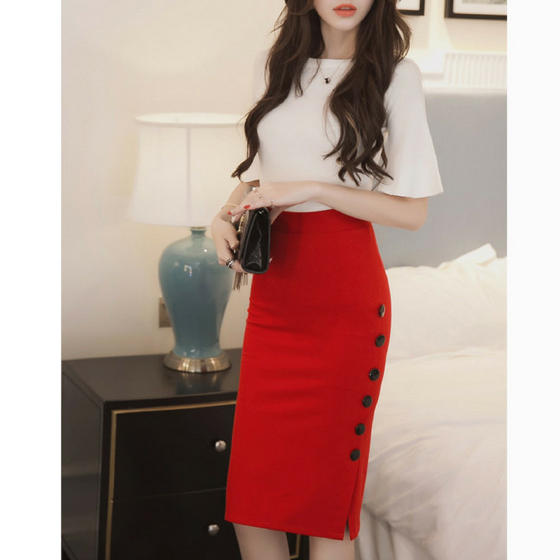 High Waist Button Bodycon Skirt - Upstart Clothing Company