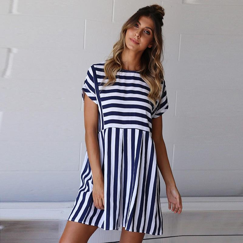 A-Line Striped Short Sleeve Dress - Upstart Clothing Company