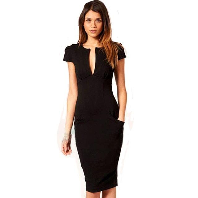 Knee-Length Slim Pencil Dress - Upstart Clothing Company