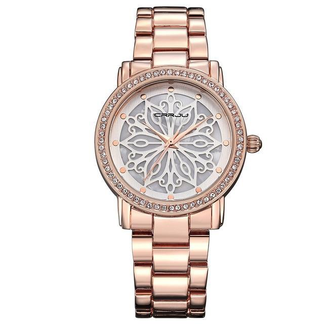 Luxury Dress Rose Gold Diamond Watch - Upstart Clothing Company