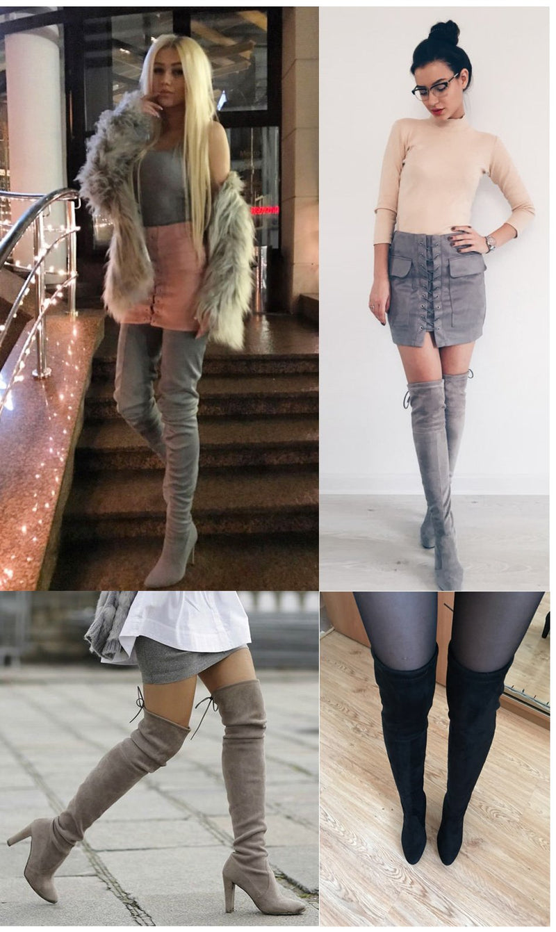 Faux Suede Thigh High Boots - Upstart Clothing Company