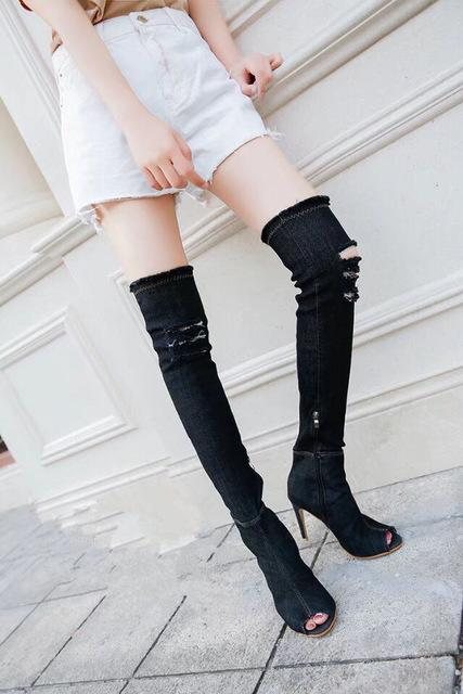 Thigh High Peep Toe Denim Stiletto Boots - Upstart Clothing Company