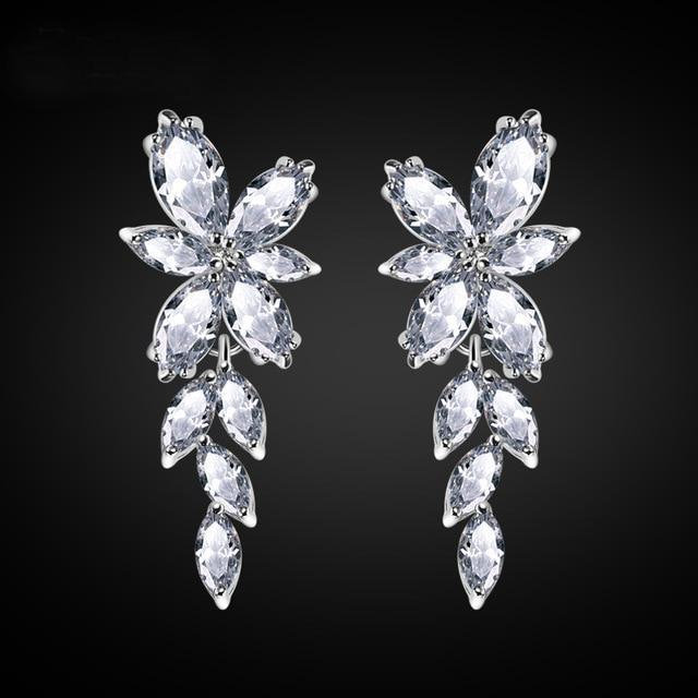 Crystal Flower Earrings - Upstart Clothing Company