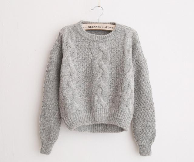 Knitted Sweater - Gray - Upstart Clothing Company