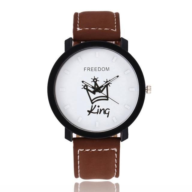 Queen King Crown Fuax Leather Couple Watch - Upstart Clothing Company