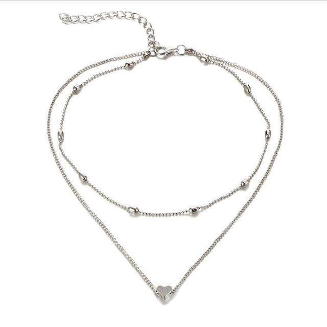Dual Layered Choker Necklace and Heart Pendant - Upstart Clothing Company