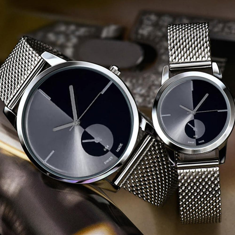 Stainless Steel Mesh Band Couple WristWatch - Upstart Clothing Company