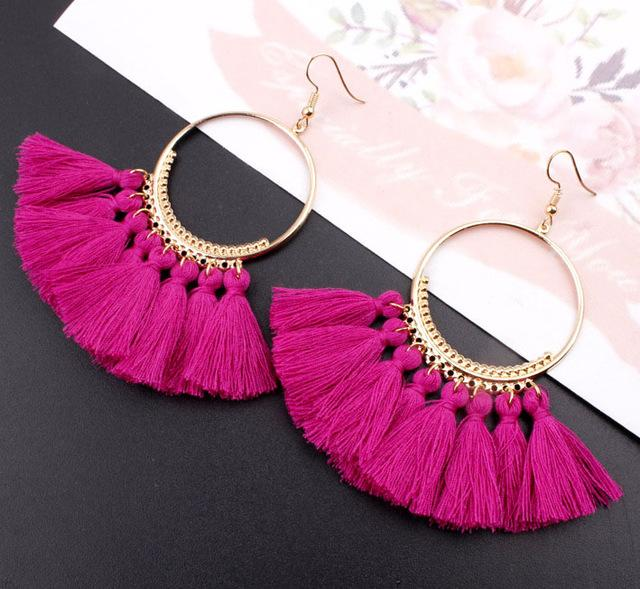 Round Long Drop Earrings - Upstart Clothing Company