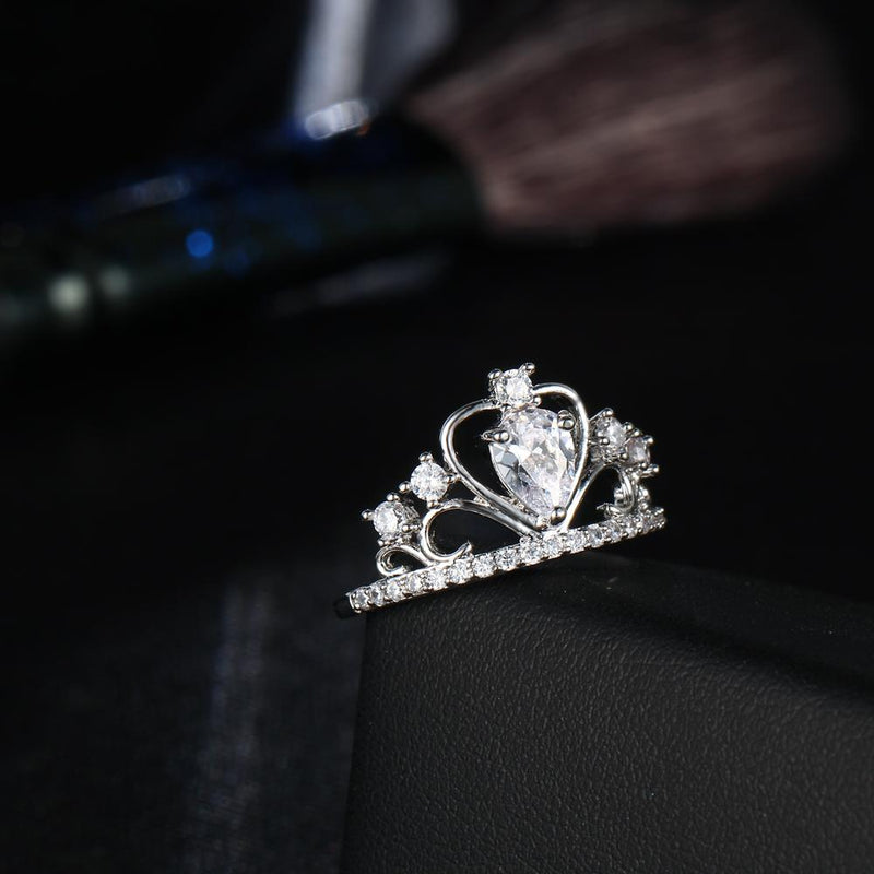 Crystal Heart Crown Rings - Upstart Clothing Company