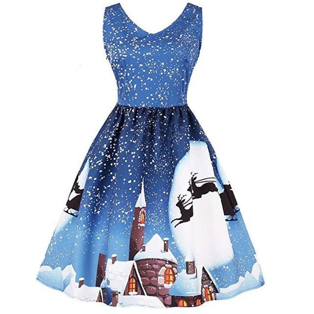 Flying Reindeer Christmas Dress - Upstart Clothing Company