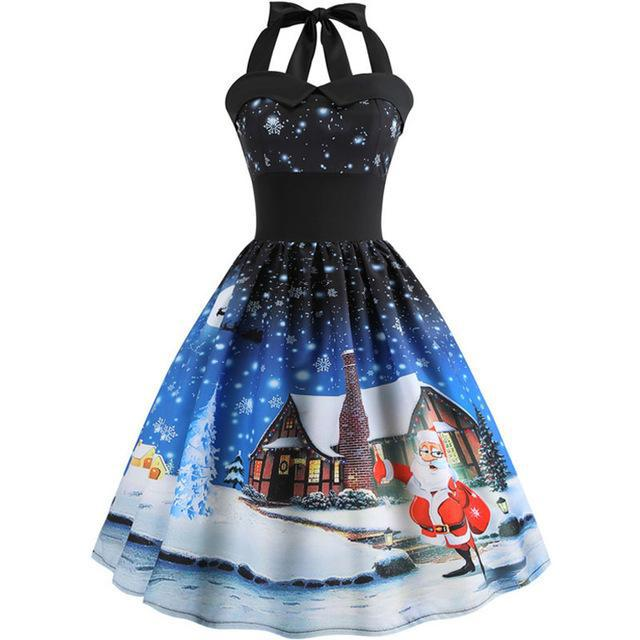 Santa Snow Christmas Dress - Upstart Clothing Company