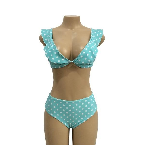 Ruffle push up Dot Printed Bathing Suit - Upstart Clothing Company