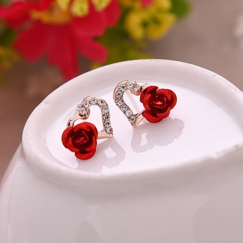 Rhinestones Heart-shaped Rose Flower Earrings - Upstart Clothing Company
