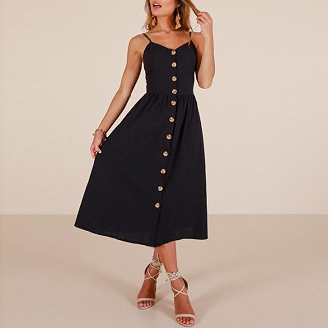 Midi Button Backless Dress - Upstart Clothing Company