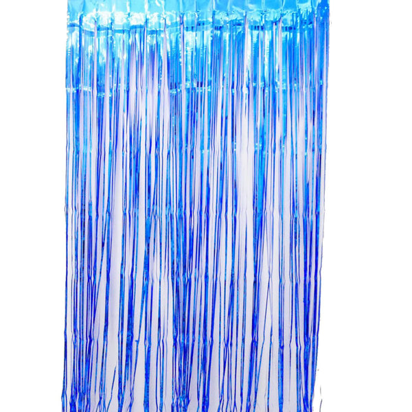 Blue  Fringe Curtains 1 x 2 m