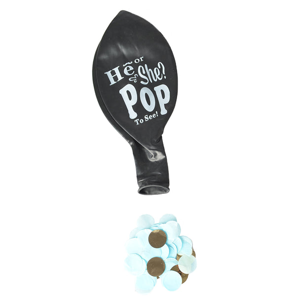 He/She? Gender Reveal Pop Balloon  (Blue Confetti) 40""