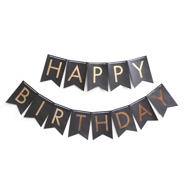 HBD Gold Foil Buntings on Black