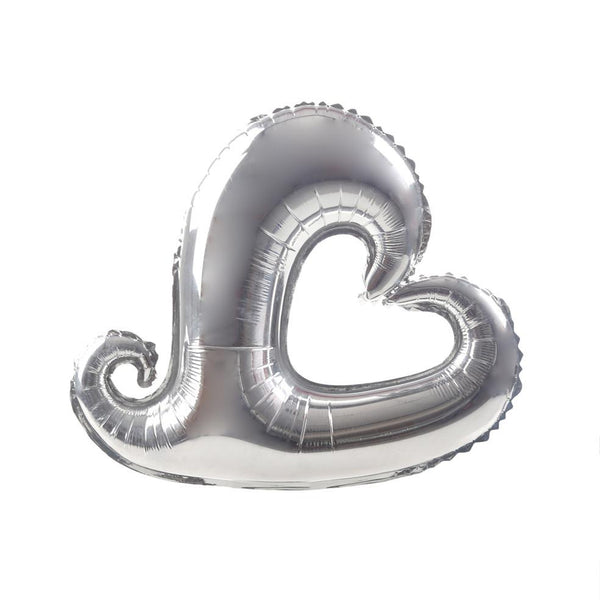 Silver Hooked Hollow Heart 18""