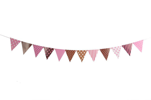 Brown Pink Dots & Stripes Flags