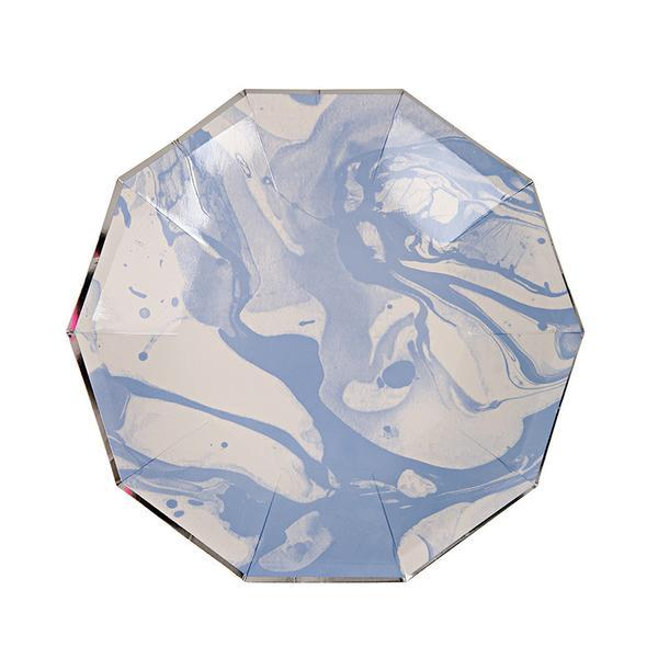 "Marbled Blue Plates 9""  (Pack of 12)"