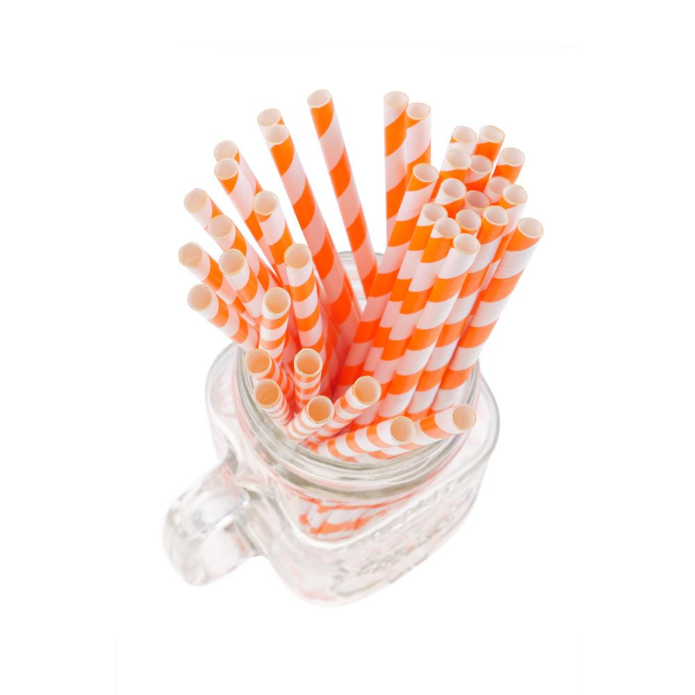 Striped Paper Straws - Orange (Pack of 50)