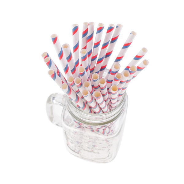 Double Striped Paper Straws - Red/Navy (Pack of 50)