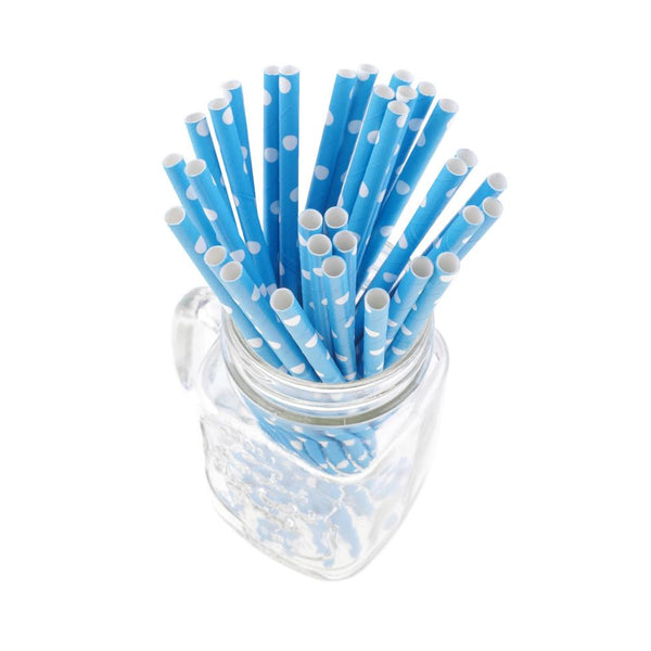 Polka Dots Paper Straws - Blue (Pack of 50)