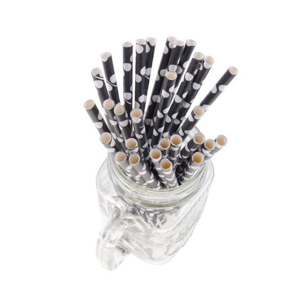 Polka Dots Paper Straws - Black/White (Pack of 50)