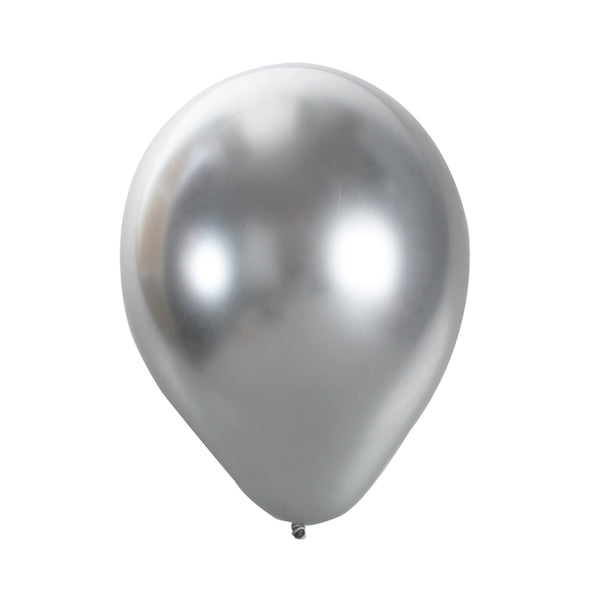 "CHROME DIPPED LATEX SILVER 12"" (Pack of 10)"