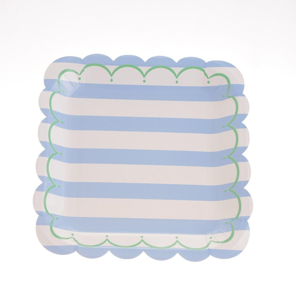 "Striped Blue Plates 9""  (Pack of 12)"
