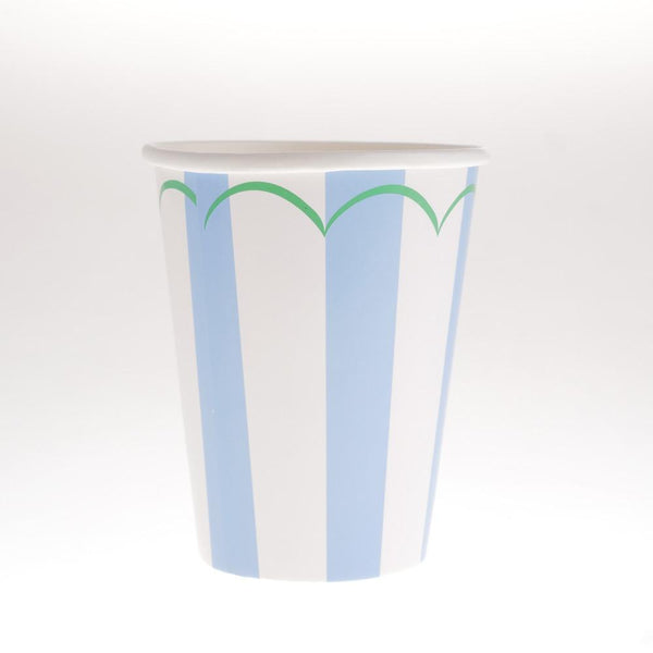Striped Blue Cups  (Pack of 12)