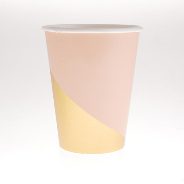 Blush & Gold Striped Geometric Cups  (Pack of 12)