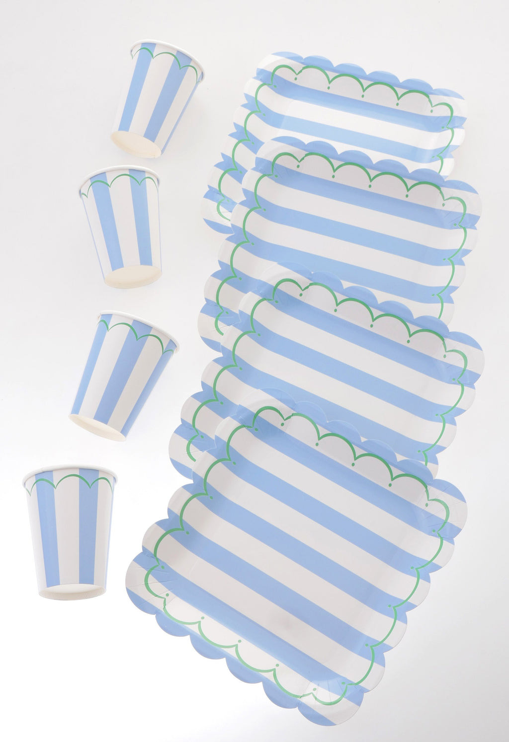 Striped Blue Scallop Tableware Bundle