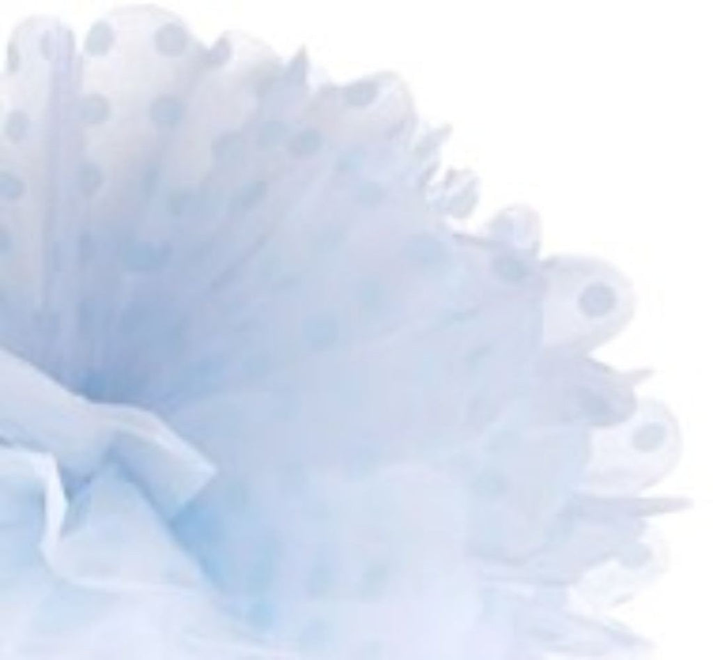 Frou Frou White with Blue Polka 12""