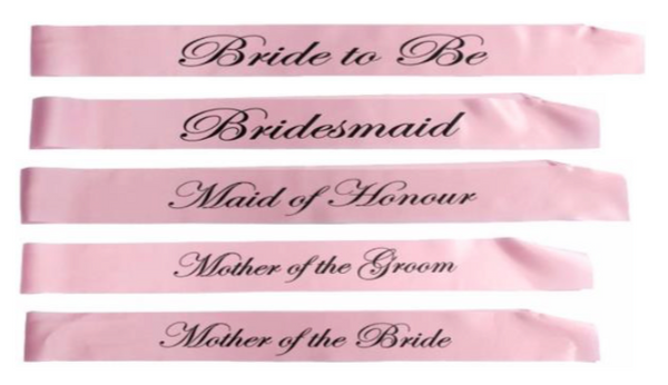 Bridal Shower Pink Sashes Set