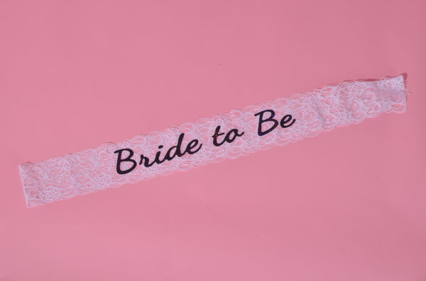 Bride To Be Lace Sash - White