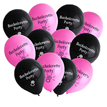 "Bachelorette Balloons 12"" (Pack of 12) - Black & Pink"