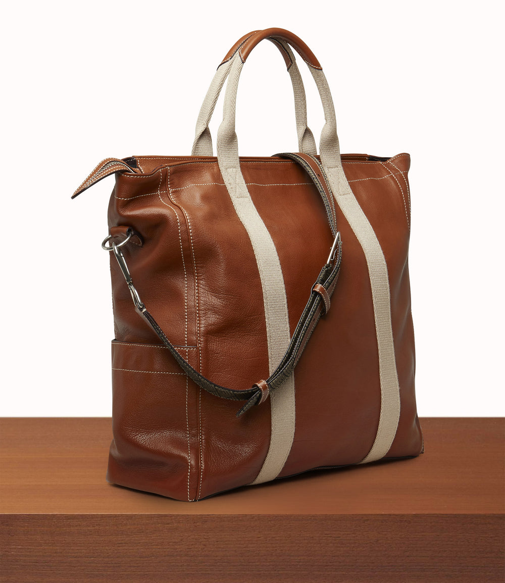 Mariner Zippered Tote Buffalo Cognac