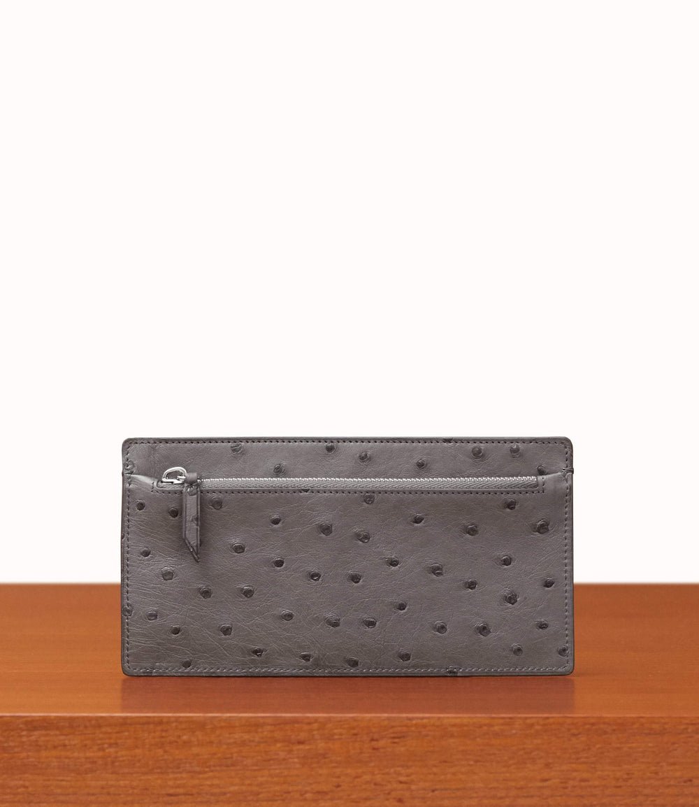Inside Out Wallet Ostrich Caviar Grey