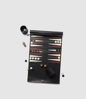 Backgammon Set Smooth Calfskin Black