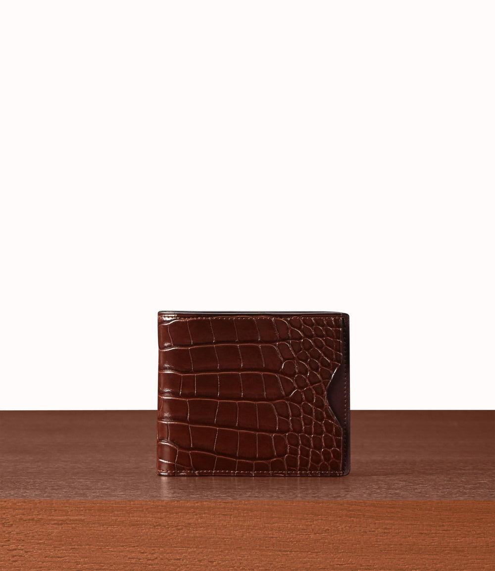 Billfold Crocodile Maduro | Brown Leather Wallets