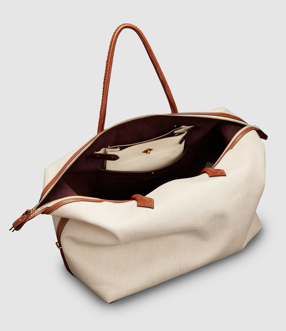 Perriand Weekend Natural Linen and Stowaway Crossbody Smooth Calfskin White Sand