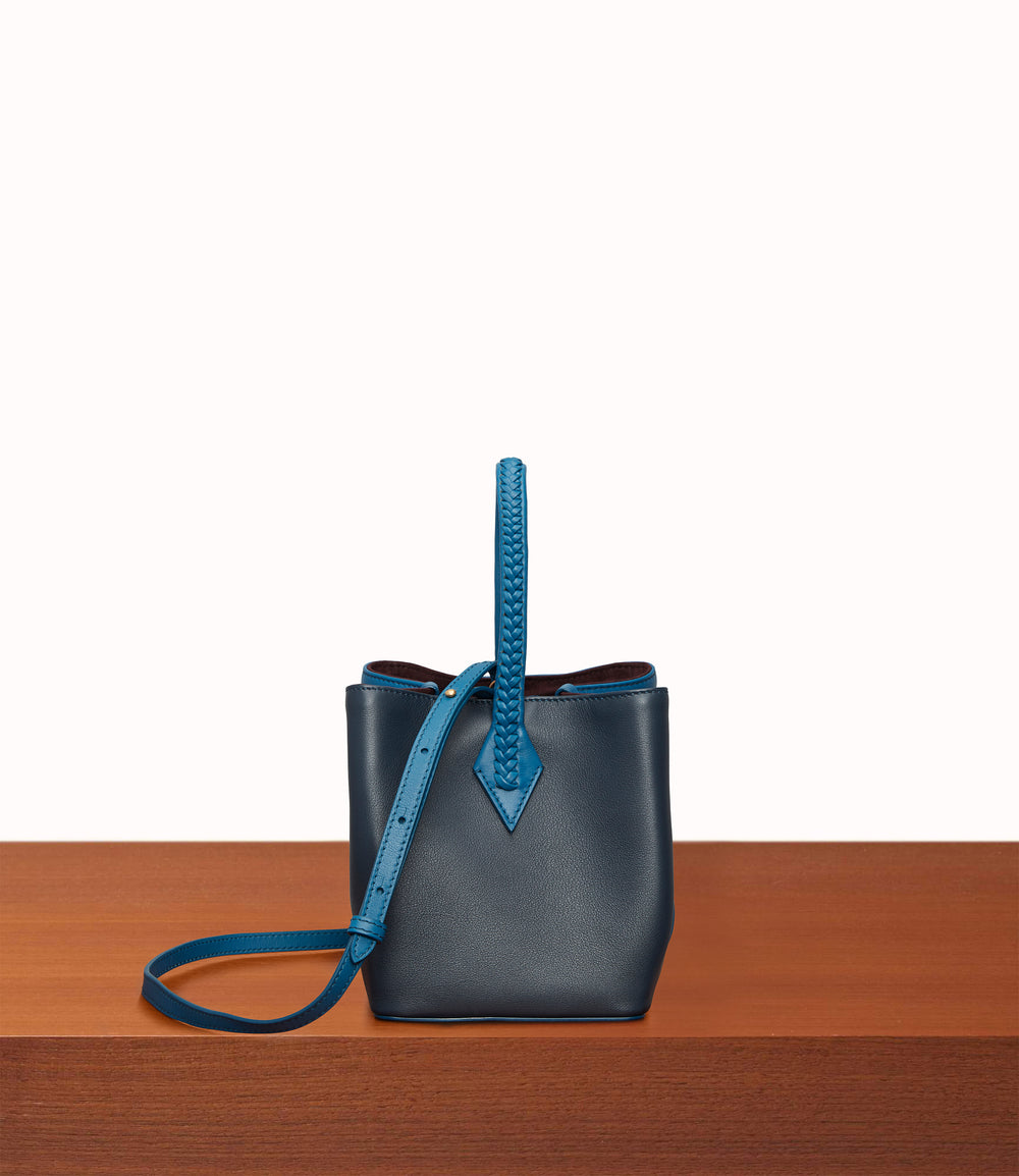 Perriand Mini Smooth Calfskin Riviera Blue Slate