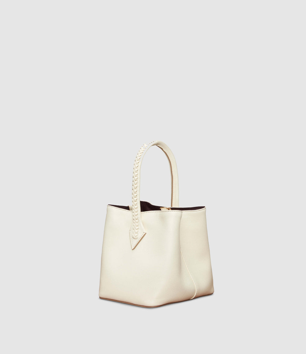 Perriand Mini Collapsible Tote Bag Smooth Calfskin White Sand