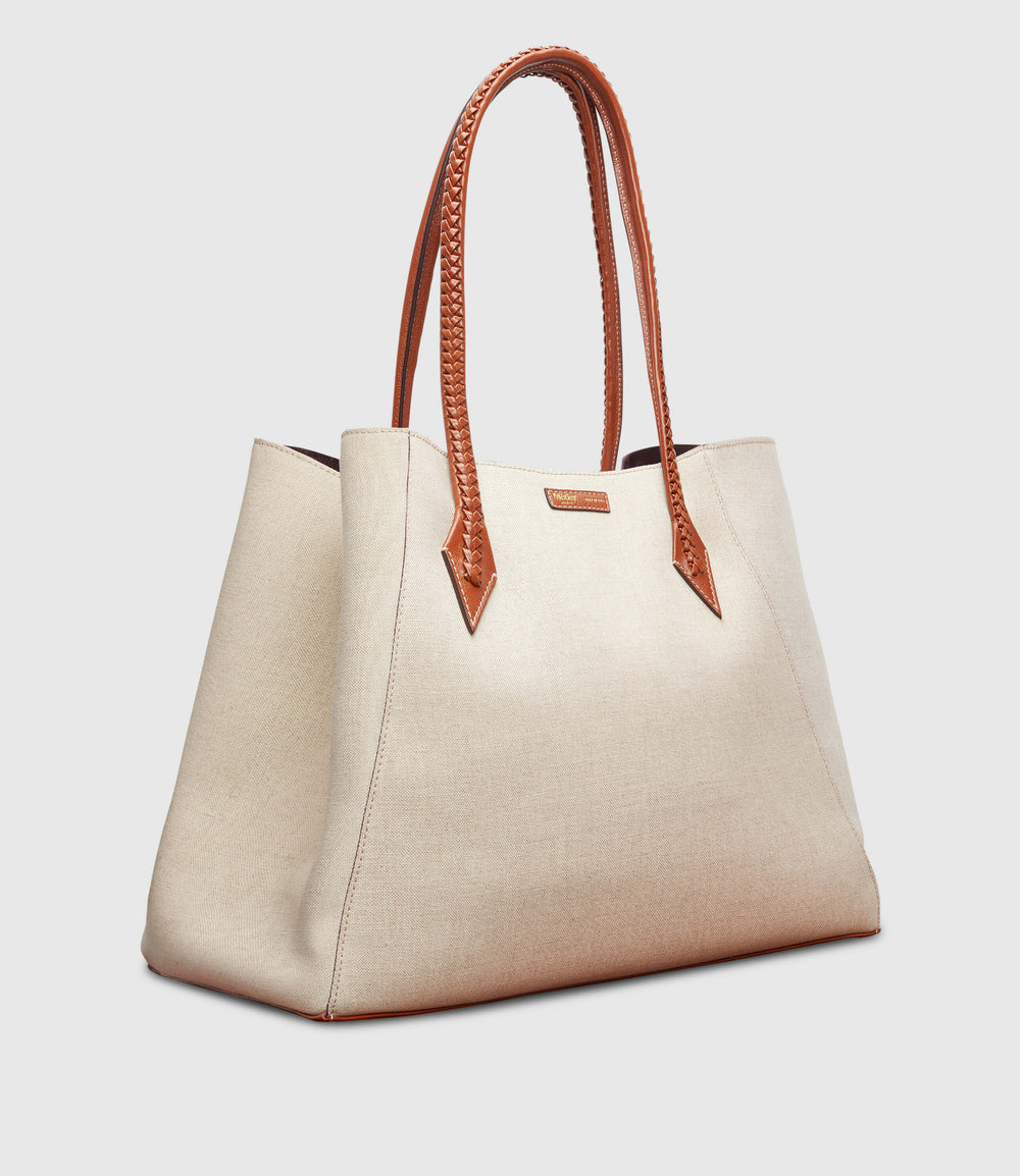 Perriand Collapsible Cabas Natural Linen with Cognac