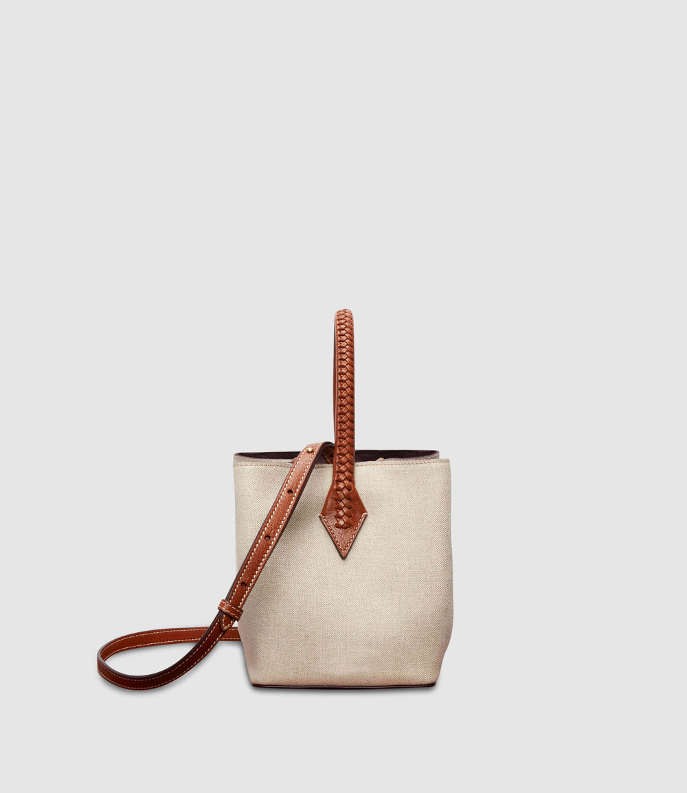 Perriand Mini Collapsible Tote Bag Natural Linen with Cognac