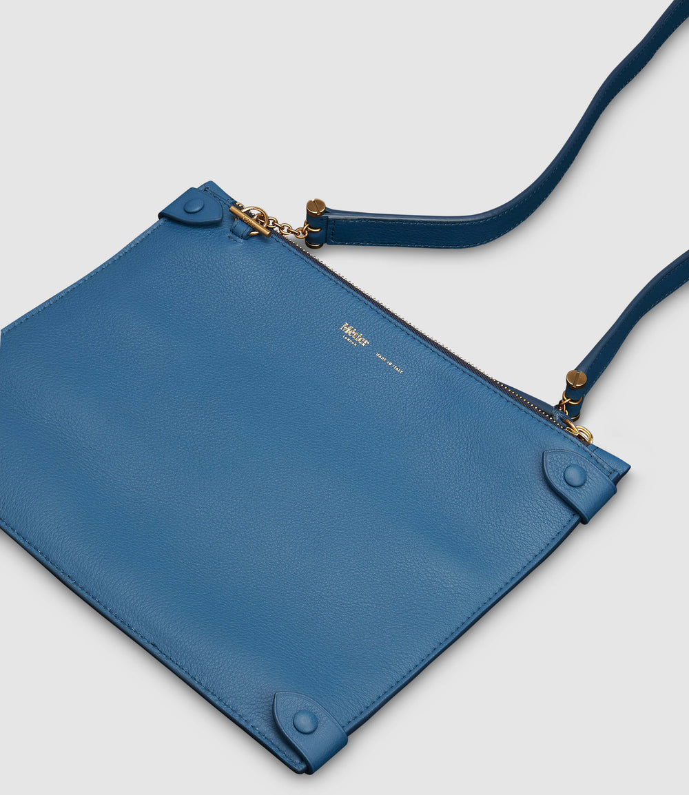 Private Eye Bag with Shoulder Strap Smooth Calfskin Riviera Blue
